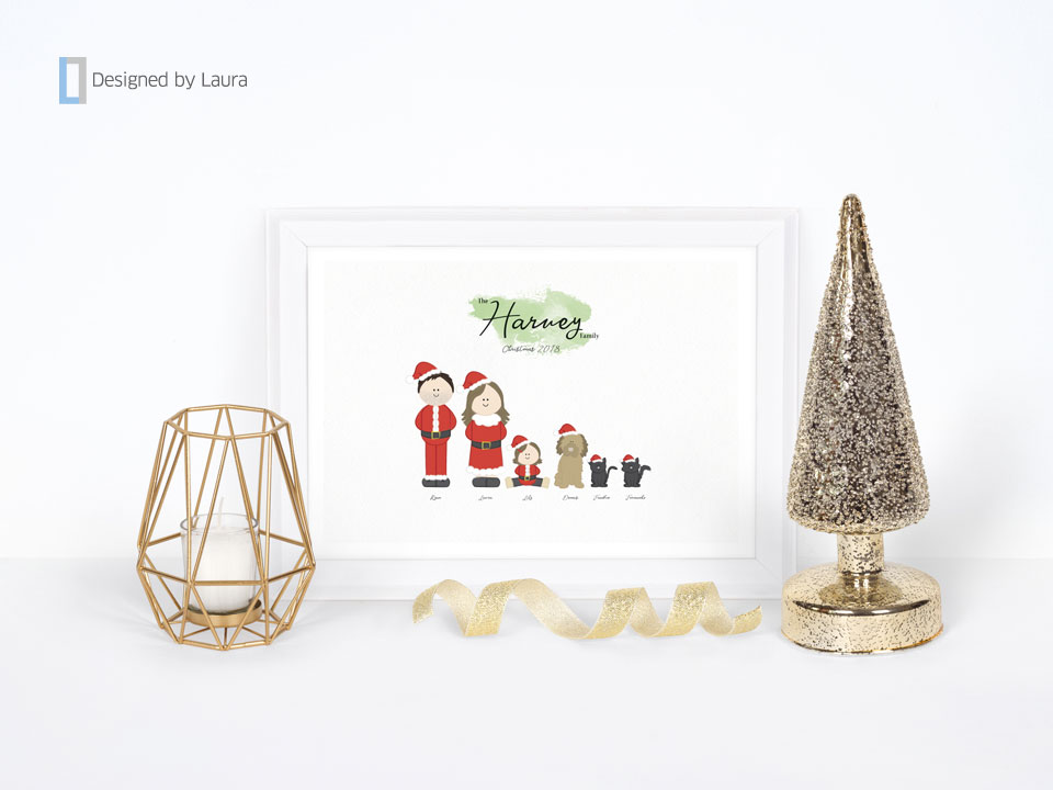 personalised family christmas print
